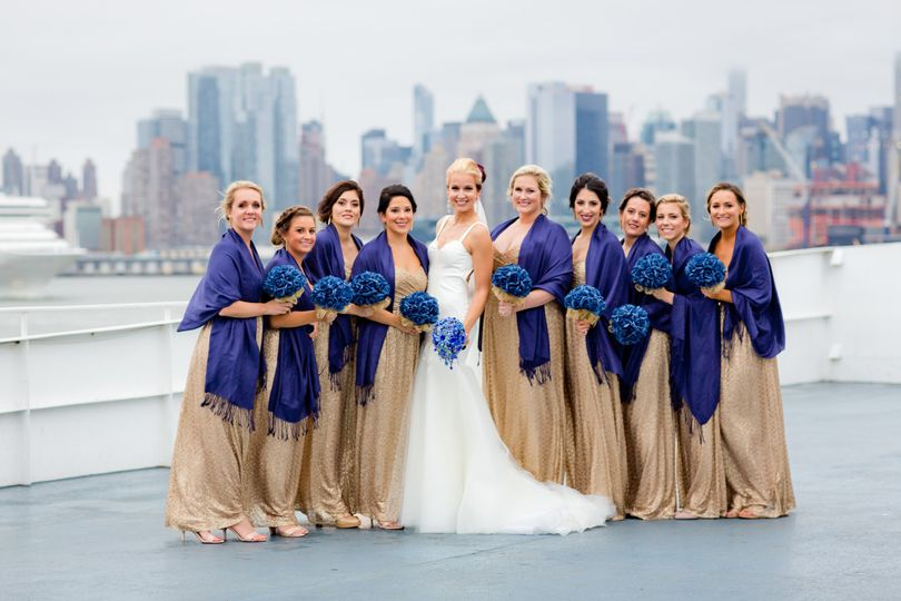 Bride and Bridesmaids on the top deck of the Majesty, docked at 14th St Pier in Hoboken NJ. The NYC...