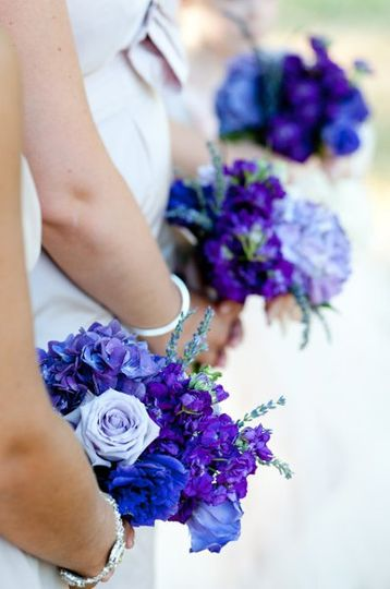 Violet and blue bouquets