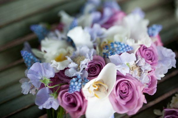Pink and white arrangement with hints of blue