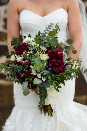 Bridal dress and bouquet