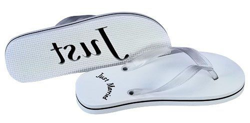 Just married flip flops are the perfect honeymoon gift for the new couple.