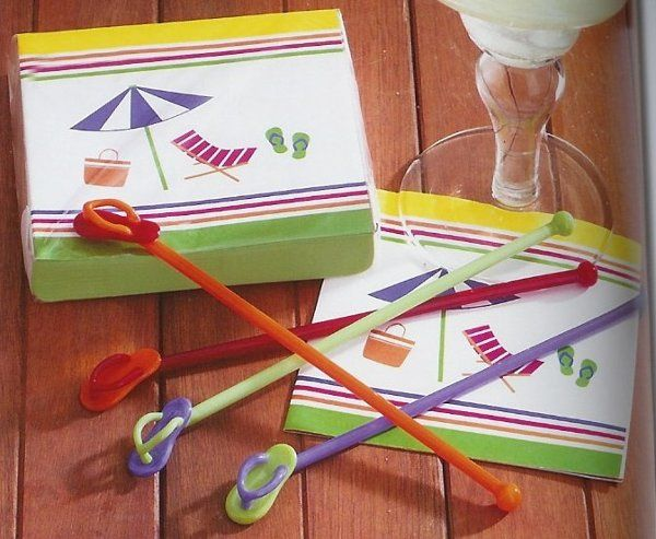 Flip flop swizzle sticks and flip flop napkins are great for beach parties.