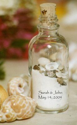 These personalized sand and shell bottles are so cute.  Consider these for your next beach event.