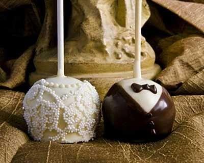 Bride and Groom Brownie Pops
