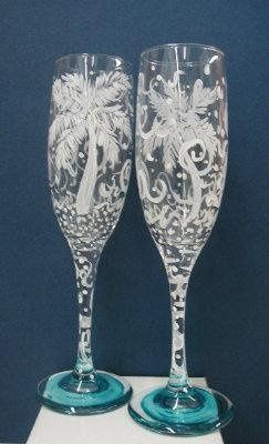 """Romantic """"Party Palms"""" Wedding Flutes, hand painted...a perfect blend of elegance and fun!..."""