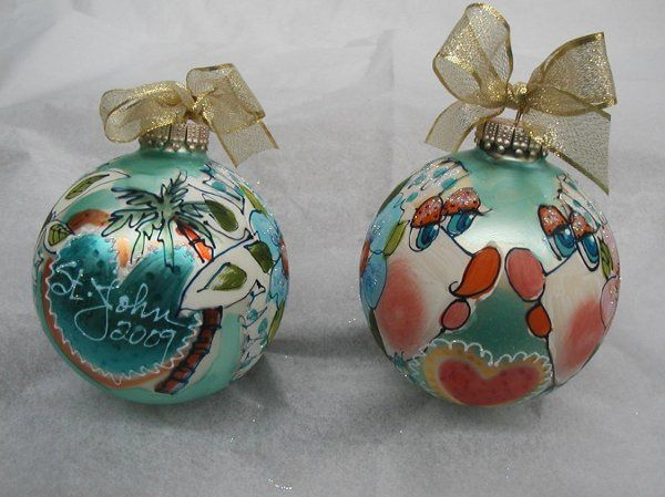 """Diane's deluxe """"Kiss Fish"""" hand painted 4"""" ornaments have a special place in the back for date and..."""