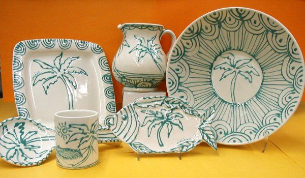 """Diane's """"Palm & Green Rainbow"""" ceramics...the happiest, beachiest thank you giftsf or commemorative..."""