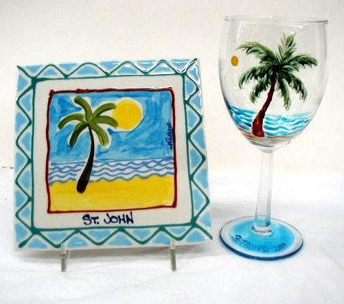 Any of Diane's hand painted ornaments, tiles and glassware can be inscribed to make your wedding...