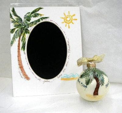 """Hand painted """"Palm"""" mats and """"Palm/Hibiscus"""" 3 1/2"""" ornaments, personalized for unique KEEPSAKE..."""