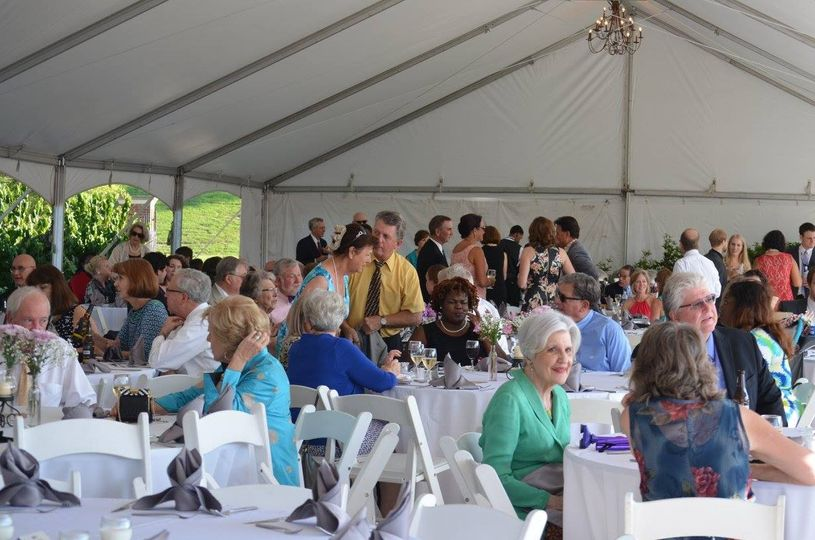 Guests filling the tent