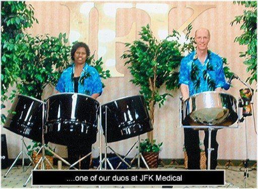 Tropical Beat Steel Drum Band duo performing at JFK Medical