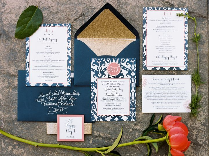 Tmx 1462069814681 Navycoralfloral Denver, Colorado wedding invitation