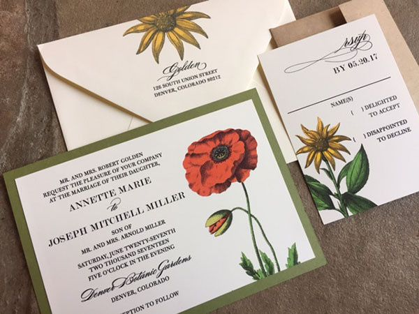 Tmx 1507219170846 Vintagebotanical1orig Denver, Colorado wedding invitation