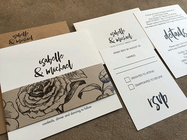 Tmx 1507219287320 Blackwhitekraft1orig Denver, Colorado wedding invitation