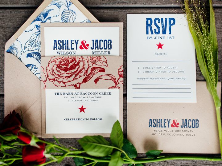Tmx 1515708545 6b77db198ac6e831 1515708543 14e5689d2e20cdf0 1515708524082 2 Americana Denver, Colorado wedding invitation