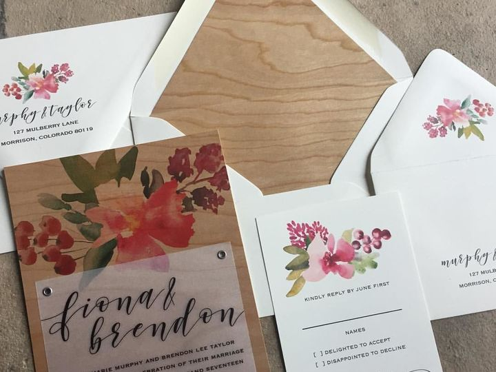 Tmx 1515708805 2c49c889cf9e7f7e 1515708803 41ec58d4e9dfc37c 1515708788245 7 Woodfloral Denver, Colorado wedding invitation