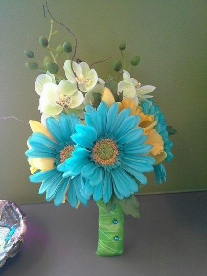 Blue and white floral arrangement