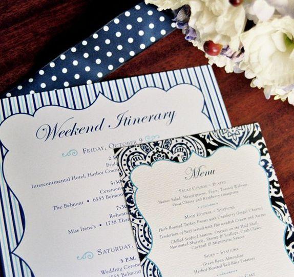 Itinerary sheet and menu card