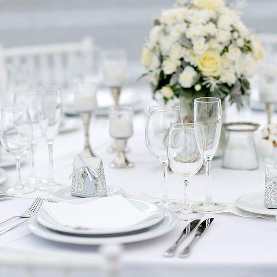 Table setup with dinnerware