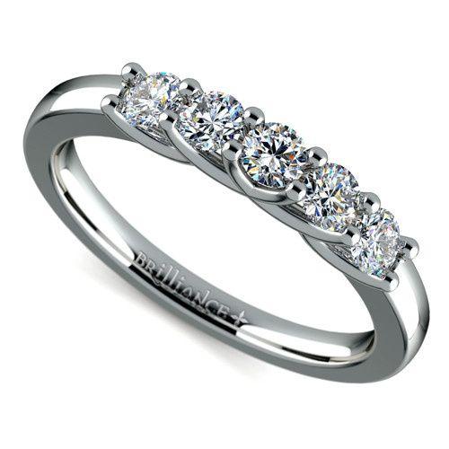 Trellis Five Diamond Wedding Ring in White Gold