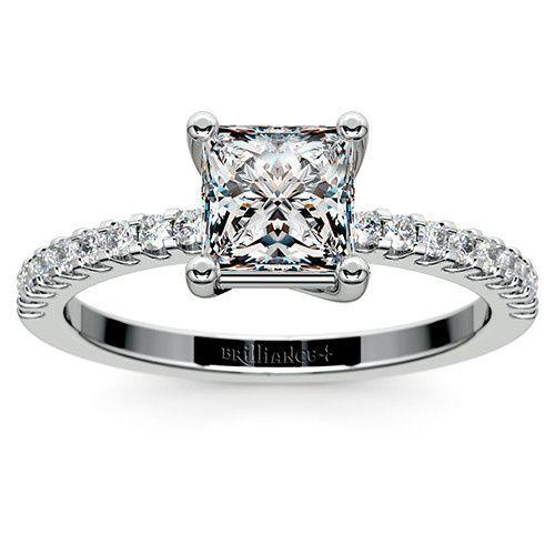 Scallop Diamond Ring in Platinum