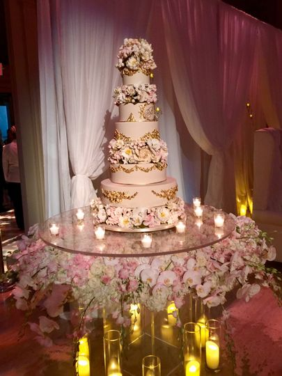 Full floral cake table