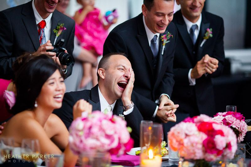 W Hotel wedding - groom filled with uncontrollable laughter as a video of him hula hooping is played...