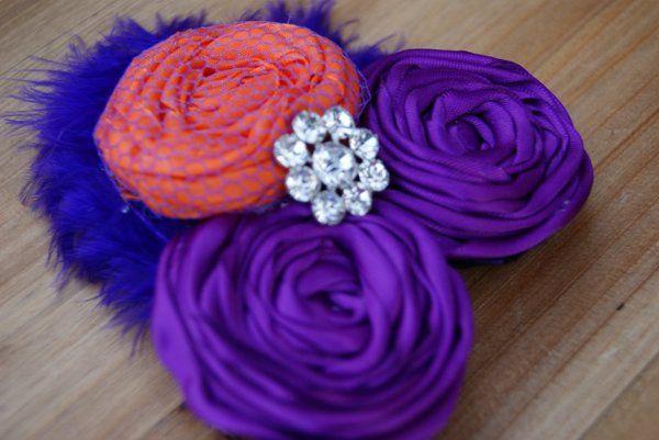 Embellished Purple and Orange Satin Rosettes