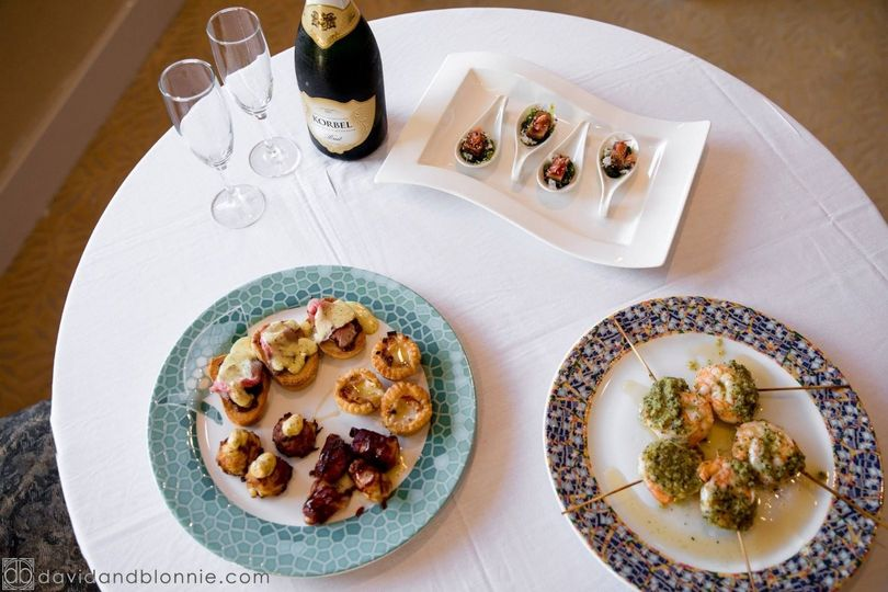 Plated cuisine and champagne