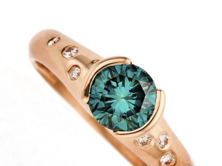 Tmx 1365149512669 Etienne Perret Rose Gold Teal Diamond Tulip 800 Camden wedding jewelry