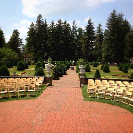 Courtyard wedding setup