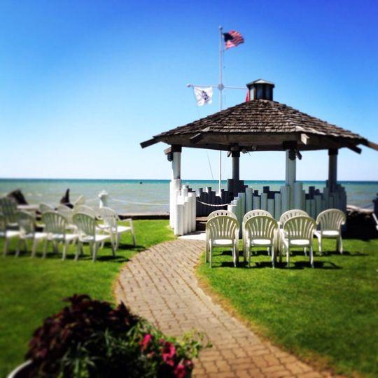 Beachfront gazebo wedding setup