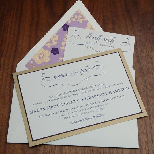 Triple layer contemporary invite with spring/summer colors and coordinating envelope liner.
