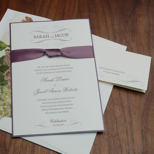 Contemporary invite with ribbon band and matching deep purple shimmer bottom layer.