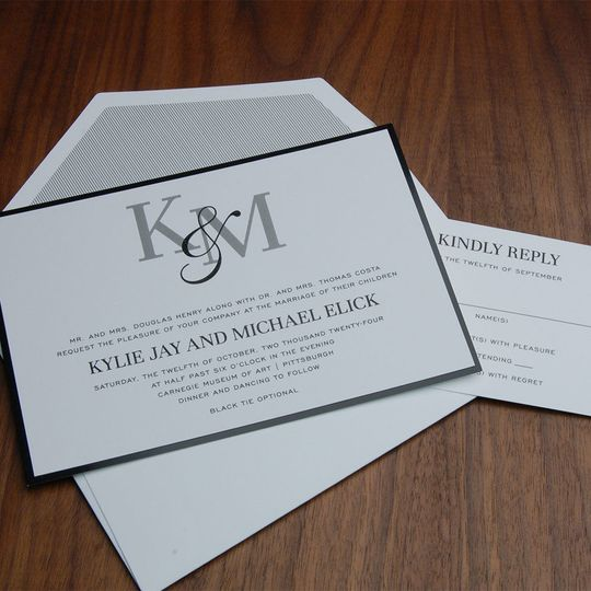 Contemporary, black and white wedding invite, layered, FAB monogram!