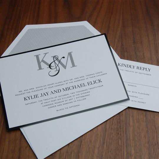Contemporary, black and white wedding invite