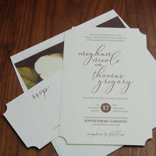 Diecut invite, beautiful fonts and layout, gorgeous magnolia envelope liner.