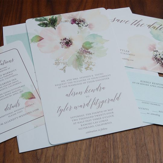 Soft, beautiful floral invite, with soft papers and inks to match...stunning!