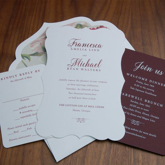 Diecut wedding invite and gorgeous matching envelope with stunning liner.