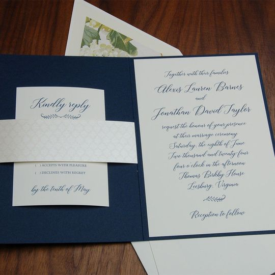 YES - pocket invites are the RAGE!!! Available in a huge color selection. Perfect to hold your rsvp...