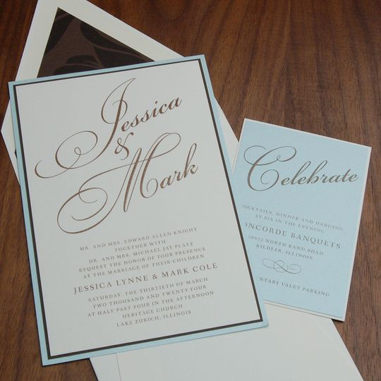 Rotated large names, triple mount invite. Luscious ocean blue - perfect for a seaside wedding - or...