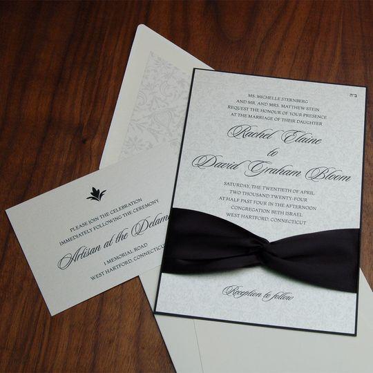 Black and white elegant wedding invite