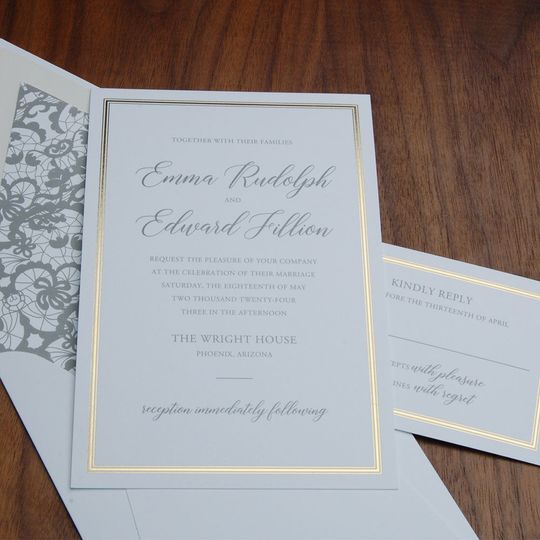Elegant charcoal letterpress + gold foil border.