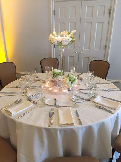 White tables setup