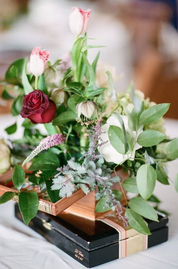 Bouquet on top of gift