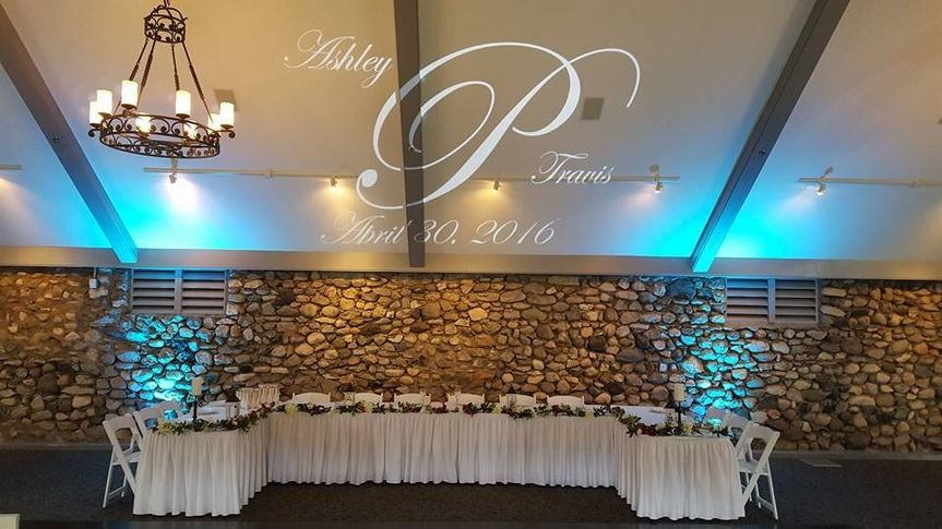 A+ has monogram services and uplights! Here we have both at Castle Farms.