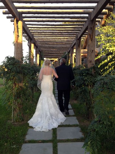 """Walking up our Breezeway """"aisle"""" to the barn"""