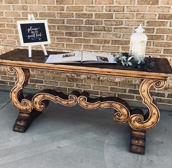 Scrolled Wood Table