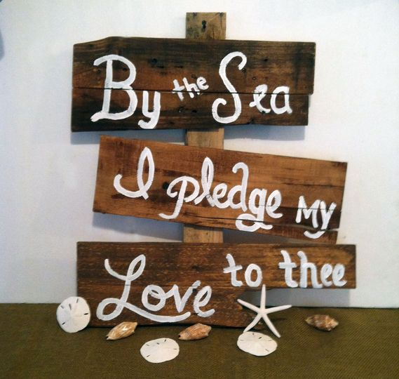 Having a beach wedding? This sign is made from reclaimed pallet wood so there may be imperfections....