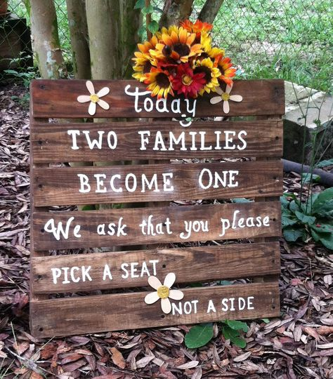 "Having a rustic barn wedding theme? ""Today Two Families Become One"" sign would look great at the..."